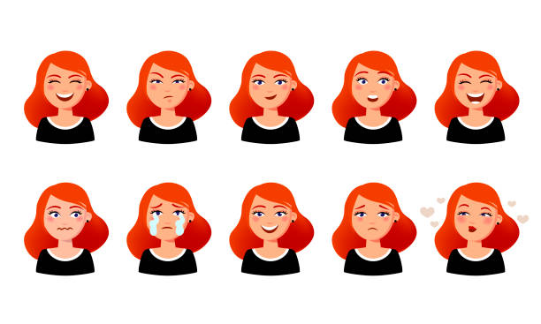 Woman s facial expressions. Cute girl with various emotions vector flat illustration. Ten emotional faces for stickers in cartoon character design isolated on white background. Woman s facial expressions. Cute girl with various emotions vector flat illustration. Ten emotional faces for stickers in cartoon character design isolated on white background female likeness stock illustrations