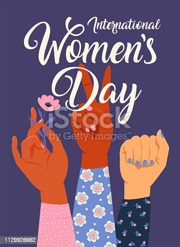 Woman s hand with her fist raised up. Girl Power. Feminism concept. Realistic style vector illustration in pink pastel goth colors isolated on white.