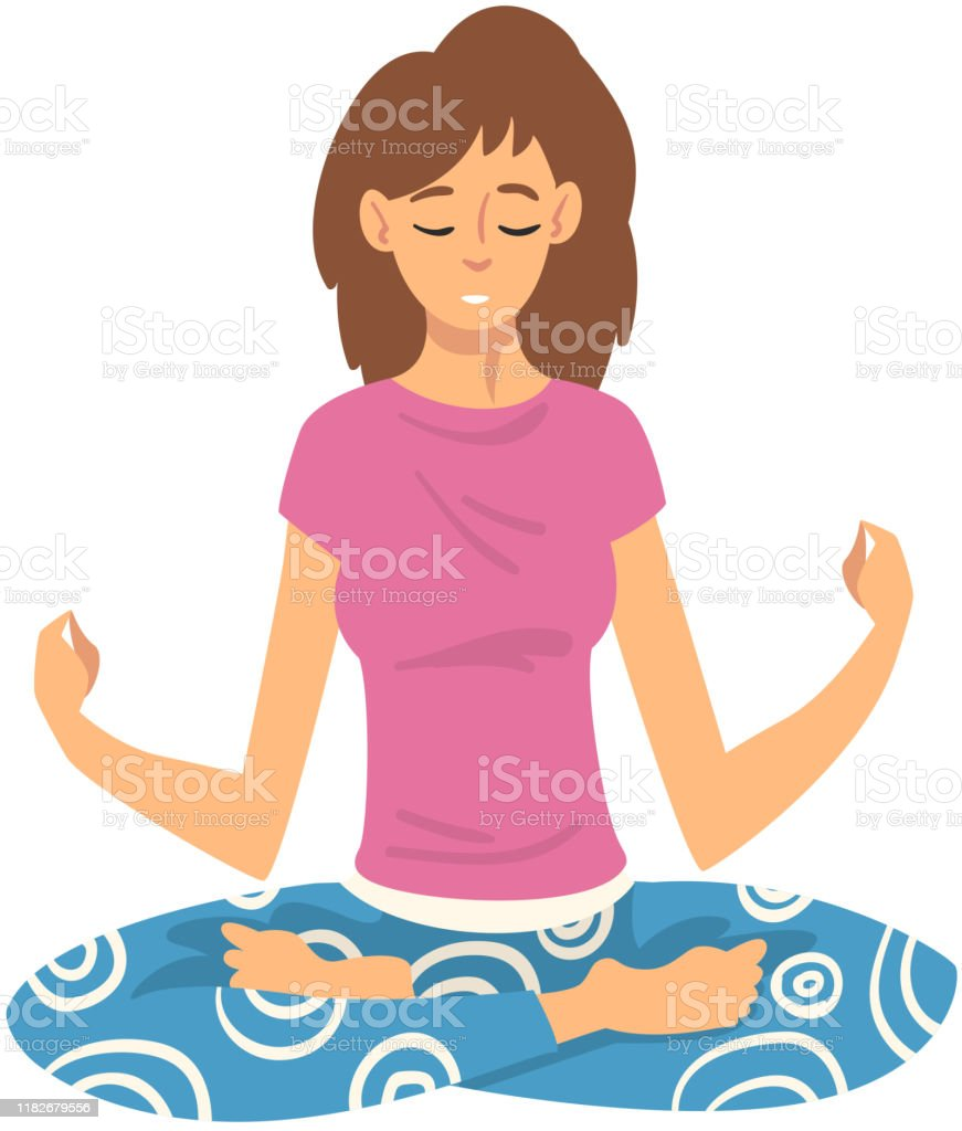 Femme Sure Lequilibre Avec La Meditation Illustration De Vecteur De Dessin Anime De Relaxation Vecteurs Libres De Droits Et Plus D Images Vectorielles De Adulte Istock