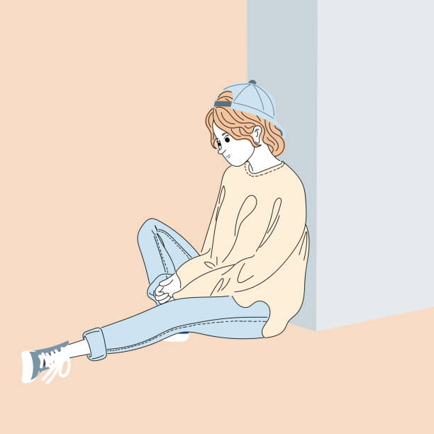 Woman sat under a building. She is sad, worried about personal matters.Doodle art concept,illustration painting vector art illustration