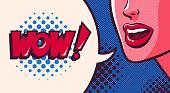 istock Woman saying wow, speech bubble in retro comic pop art style. 1299445730
