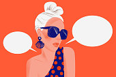 Girl says. Portrait of stylish woman with sunglasses and blank dialog speech bubbles isolated on red background. Pose. Flat trendy illustration.