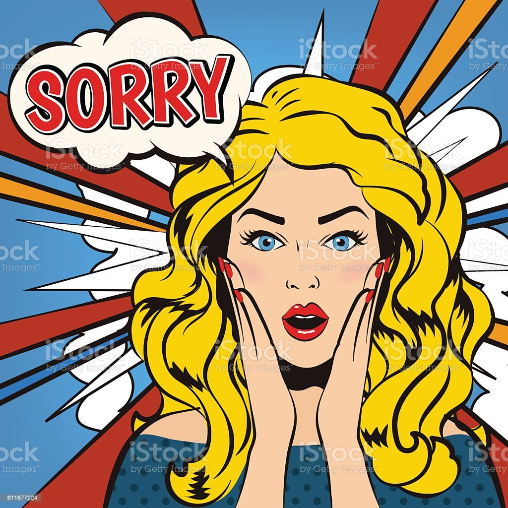 Woman says Sorry! Sorry face. Vector illustration. vector art illustration