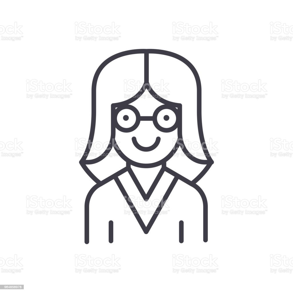 Woman scientist black icon concept. Woman scientist flat  vector symbol, sign, illustration. royalty-free woman scientist black icon concept woman scientist flat vector symbol sign illustration stock vector art & more images of adult