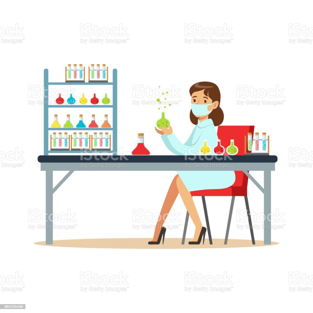 Woman scientist in laboratory conducting experiments with liquids royalty-free woman scientist in laboratory conducting experiments with liquids stock vector art & more images of adult