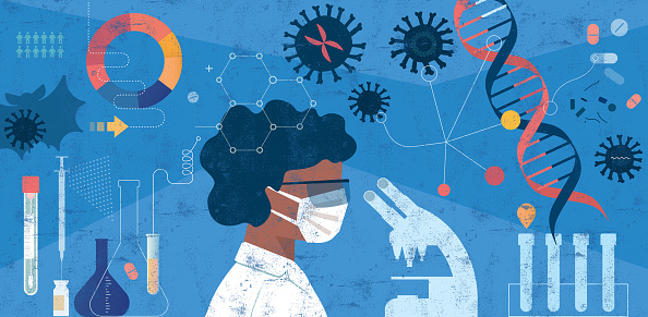 Woman Scientist Researching COVID-19 Concept
