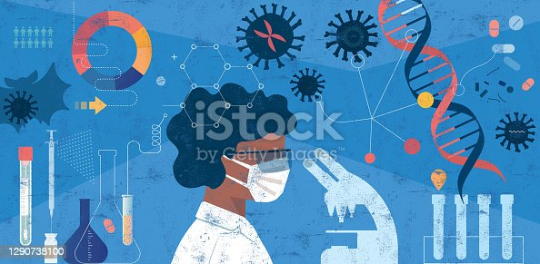 istock Woman Scientist Researching COVID-19 Concept 1290738100