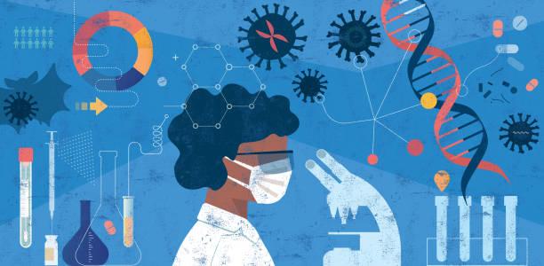 женщина-ученый, исследующий концепцию covid-19 - covid vaccine stock illustrations