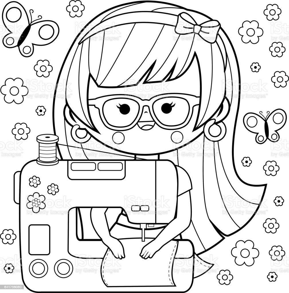 Kadin Terzi Onun Dikis Makinesi Kullanarak Boyama Kitabi Sayfasi