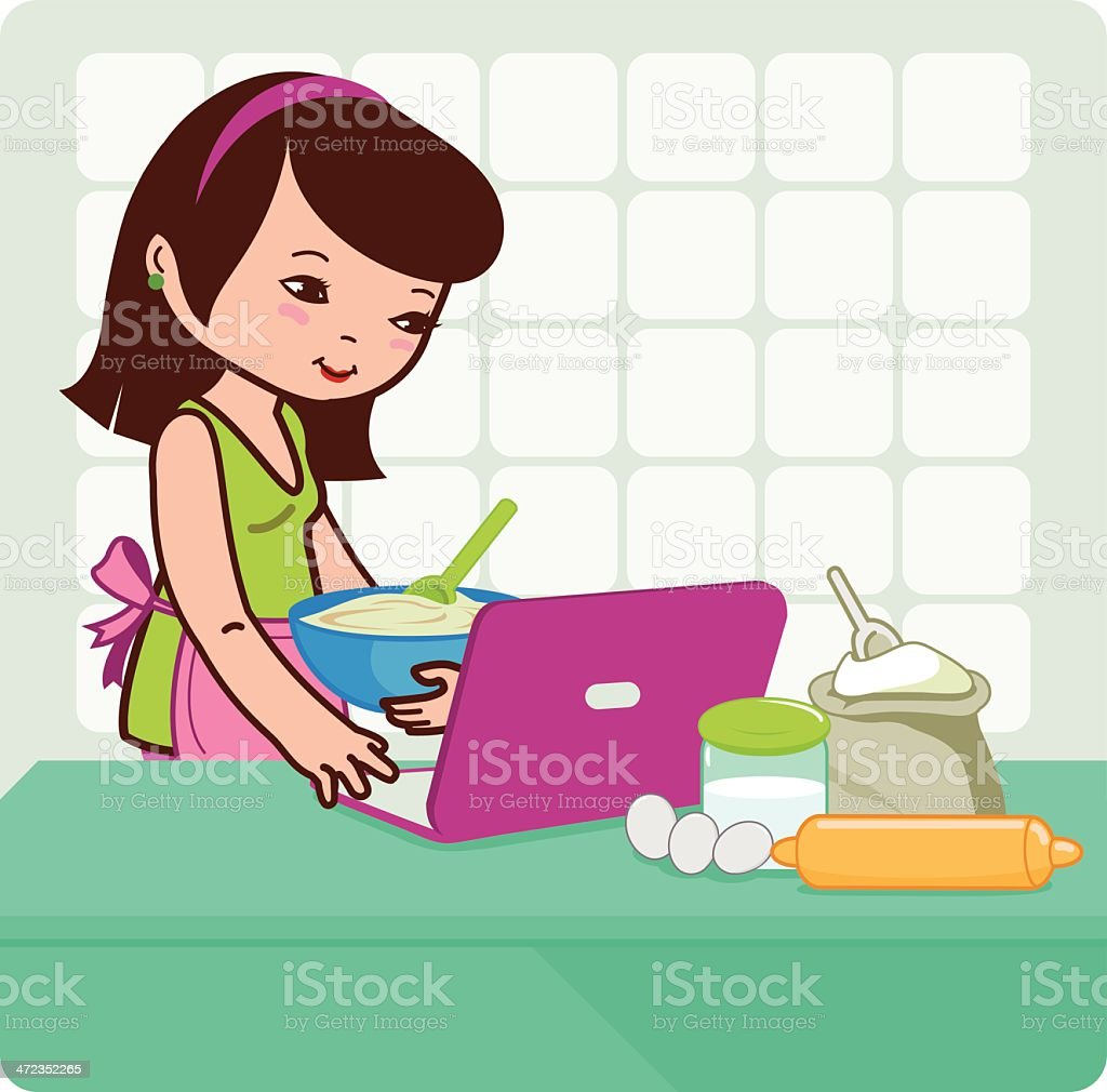 Woman searches for recipes on the internet royalty-free stock vector art
