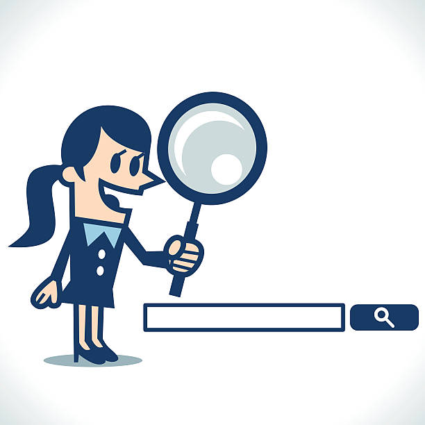 woman searching with magnifying glass - google stock illustrations