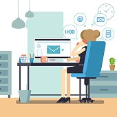 Woman secretary or female personal assistant busy. Young office manager or receptionist multitasking. Business lady or company clerk. Vector illustration
