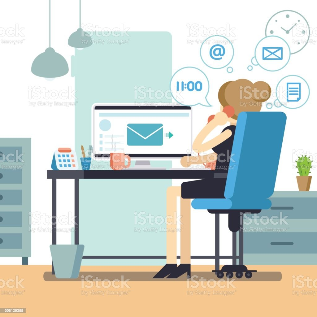 Woman secretary or female personal assistant busy. Young office manager or receptionist multitasking. Business lady or company clerk. Vector illustration vector art illustration