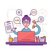 Woman secretary or female personal assistant vector illustration