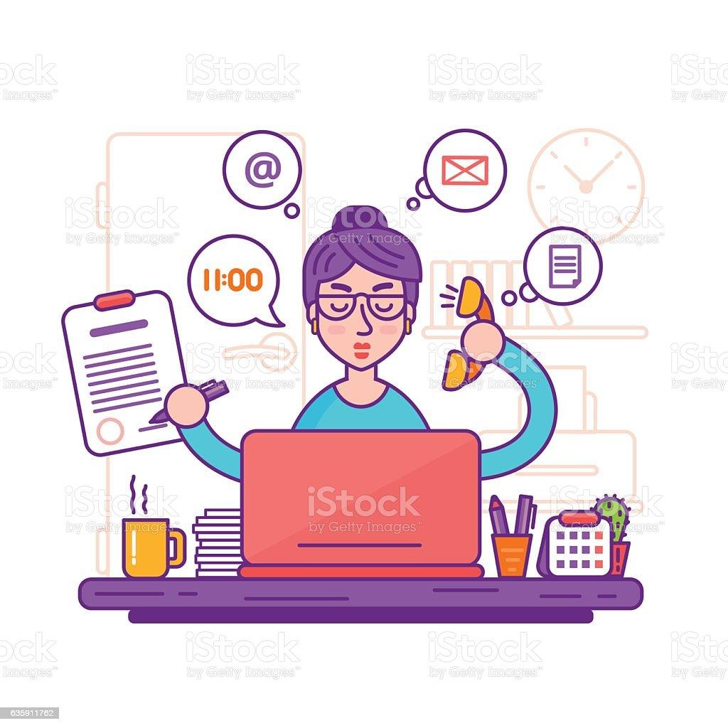 Woman secretary or female personal assistant vector illustration vector art illustration