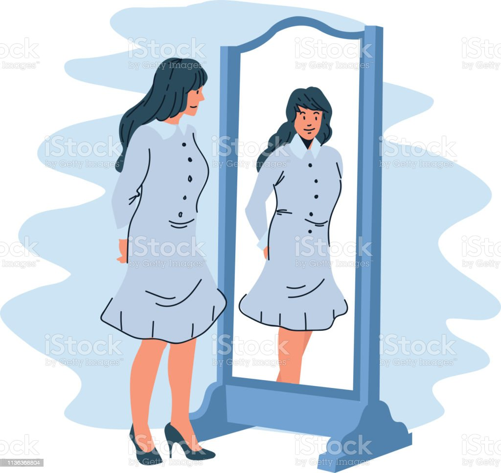 Woman see herself in the mirror vector illustration vector art illustration