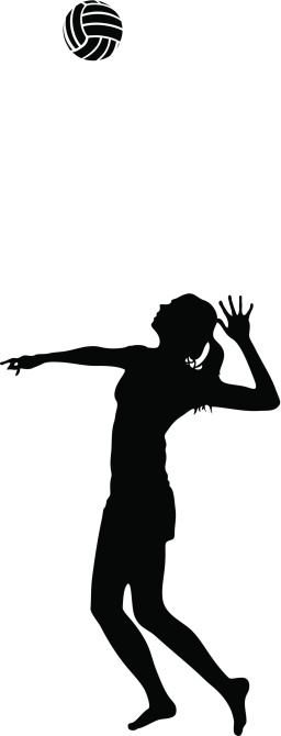 Woman Serves Volleyball Silhouette