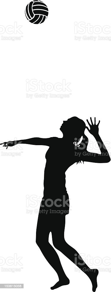 Woman Serves Volleyball Silhouette vector art illustration