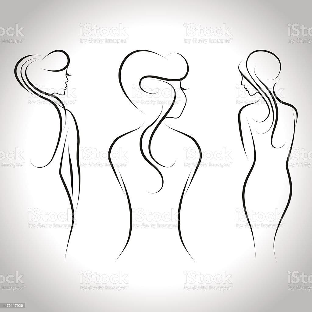 Woman set vector art illustration