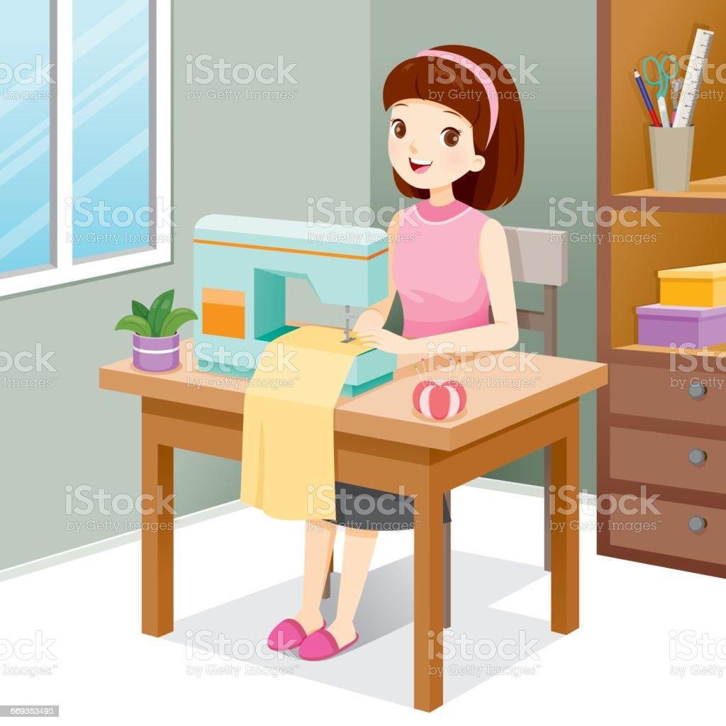 Ilustración de Ropa De Costura De Mujer Por La Máquina De Coser y ...