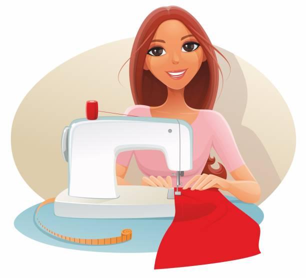 illustrazioni stock, clip art, cartoni animati e icone di tendenza di woman sews - tailor working