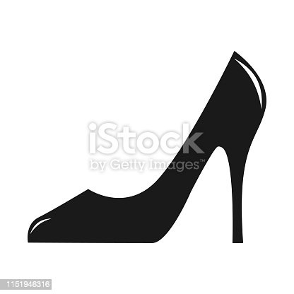 Woman shoe icon with High heels isolated on white background. Flat color and white color for shiny part vector illustration.