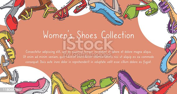 Woman shoes collection elegant high pair footwear vector illustration. Stiletto fashionable girl heel poster. Trend different style legs accessory background. Sensuality wearing card.