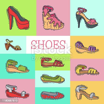 istock Woman shoes elegant high pair footwear vector illustration. Stil 1180687610