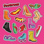 Woman Shoes Fashion Stickers. Female Footwear Badges and Patches Set. Vector illustration