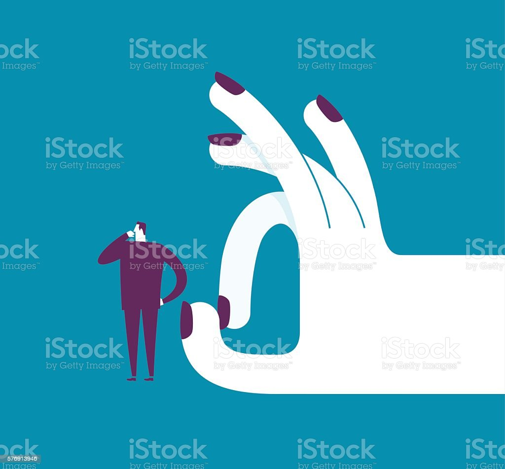 Woman shoots with her finger off a man vector art illustration