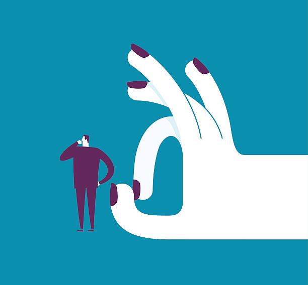 illustrazioni stock, clip art, cartoni animati e icone di tendenza di woman shoots with her finger off a man - mano donna dita unite