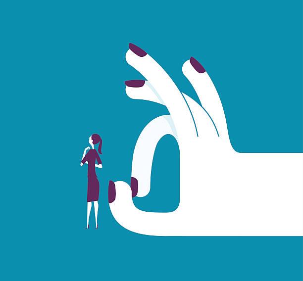 illustrazioni stock, clip art, cartoni animati e icone di tendenza di woman shoots with her finger off a woman - mano donna dita unite