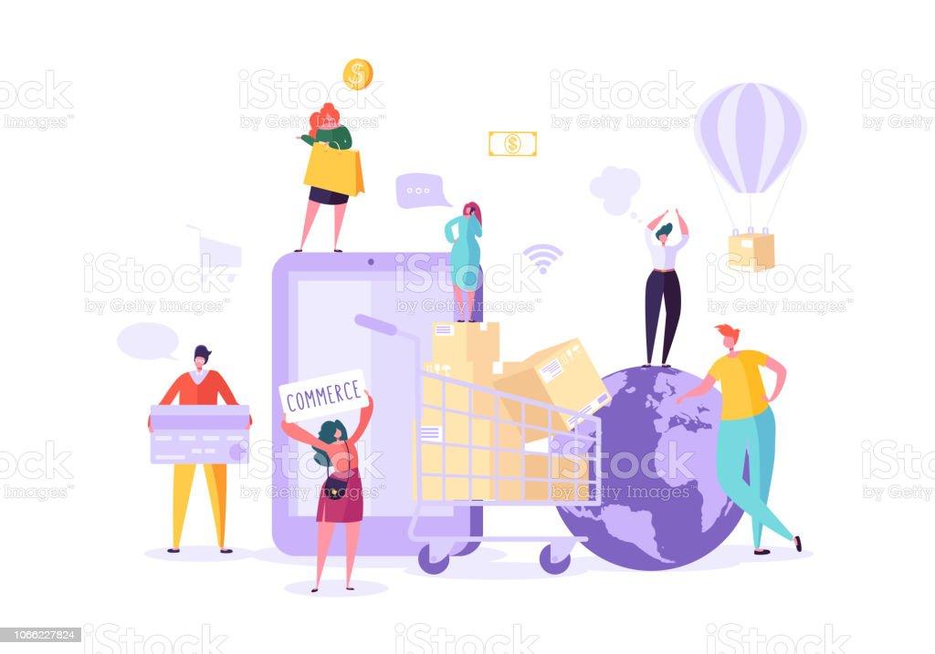 f38b02cd3 Mulher loja on-line usando Smartphone. E-commerce, consumismo, varejo,