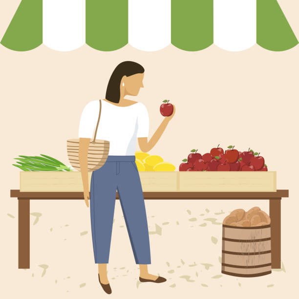 illustrazioni stock, clip art, cartoni animati e icone di tendenza di woman shopping at farmer market - mercato frutta donna