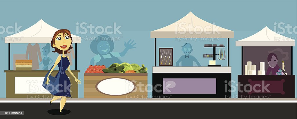 woman shopping at outdoor market vector art illustration