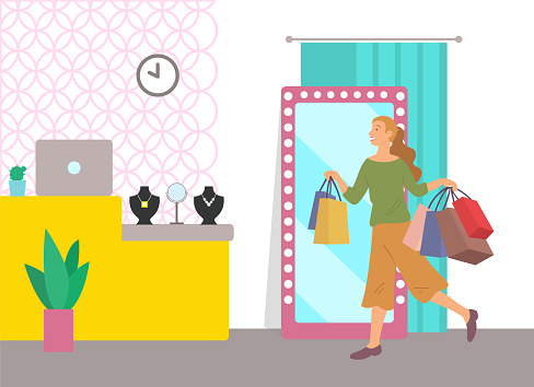 Woman shopping in a mall vector illustration. Girl with shopping packages in a jewelry store