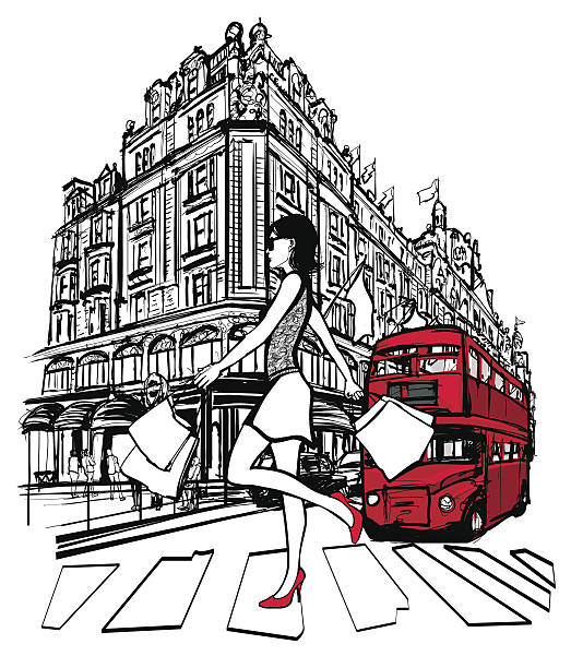 woman shopping in london - london fashion stock illustrations, clip art, cartoons, & icons