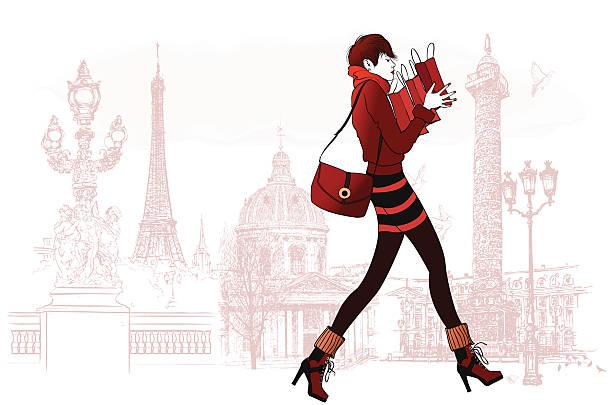 ilustrações, clipart, desenhos animados e ícones de mulher compras em paris - moda parisiense