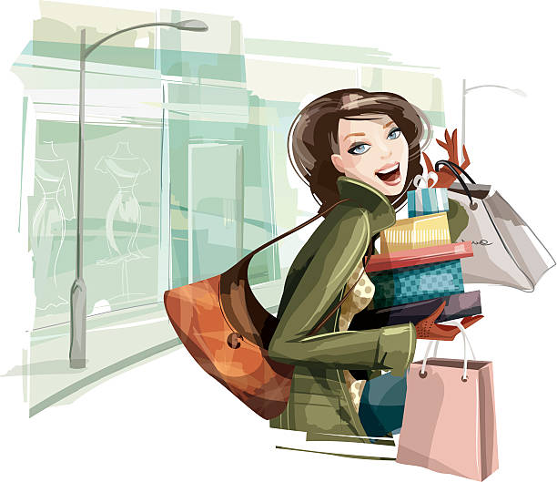woman shopping presents - young women stock illustrations