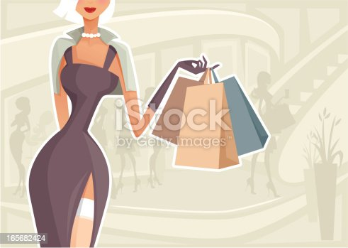 Illustration of a woman in a shopping mall. Woman and background are grouped and layered separately.