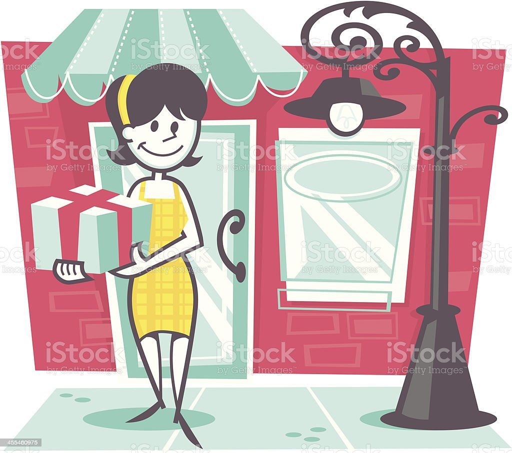 woman shopping vector art illustration