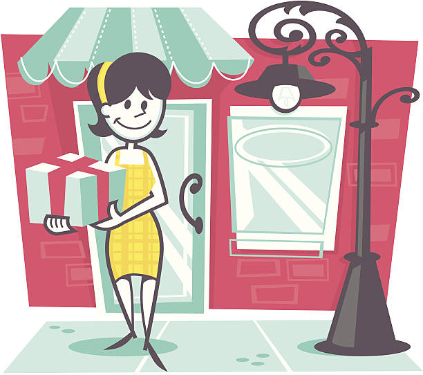 woman shopping - peter bajohr stock illustrations