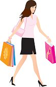 Gradients were used to create this image of an attractive young woman, carrying a bunch of shopping bags as she spends the day shopping.  Large JPG, thumbnail JPG, and Illustrator 8 compatible EPS are included in zip.