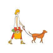 Woman shopping with eco-bag with a dog