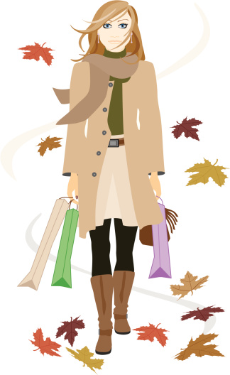 woman shopping with leaves falling