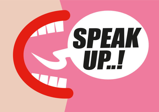ilustrações de stock, clip art, desenhos animados e ícones de woman shouting speak up in word bubble - protesting for rights of women, equality and inappropriate sexual behavior towards women - hand drawn vector illustration in pink and red - mouth