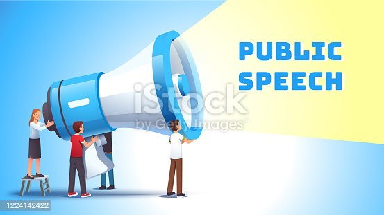 513123170 istock photo Woman shouting to bullhorn. Public speech concept. Business managers holding hailer. Group of agitators and activists using huge loudspeaker to speak loud publicly. Flat vector illustration 1224142422