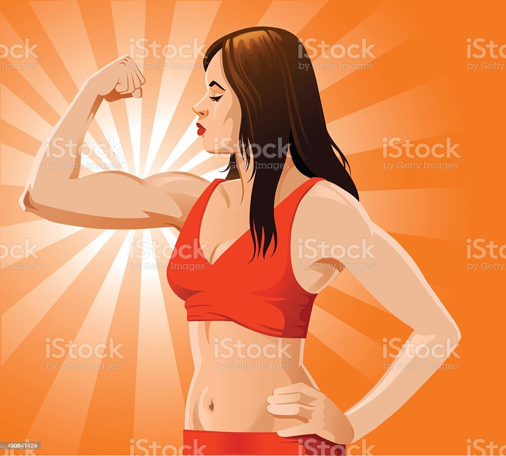Woman Showing Her Biceps vector art illustration