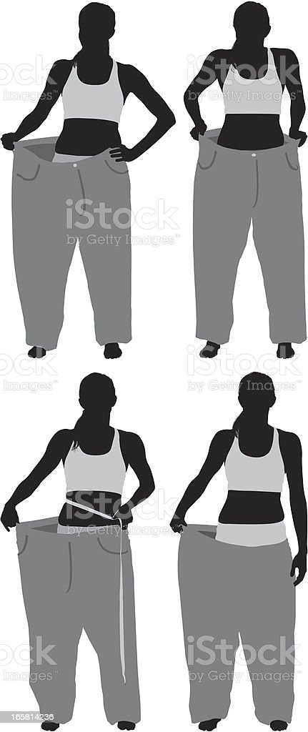 Woman showing her loosing weight royalty-free stock vector art