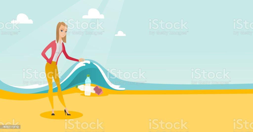 顯示在海浪下的塑膠瓶的女人 免版稅 顯示在海浪下的塑膠瓶的女人 向量插圖及更多 加拿大 圖片